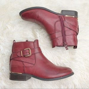 Wanted Burgundy Faux Leather Ankle Booties US 6